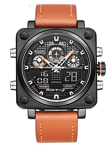 46d172d36 Hombre Reloj Deportivo Reloj Militar Reloj Digital Japonés Cuarzo Cuero  Auténtico Negro / Naranja 30 m Resistente al Agua Despertador Calendario ...