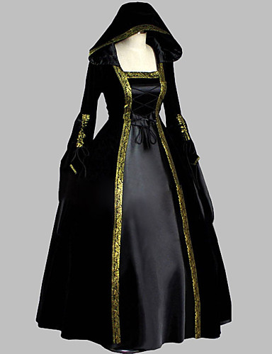 Gothic Lolita / Medieval Costume Women's Dress / Party Costume / Masquerade Black Vintage Cosplay Satin Long Sleeve Floor Length / Long Length Halloween Costumes