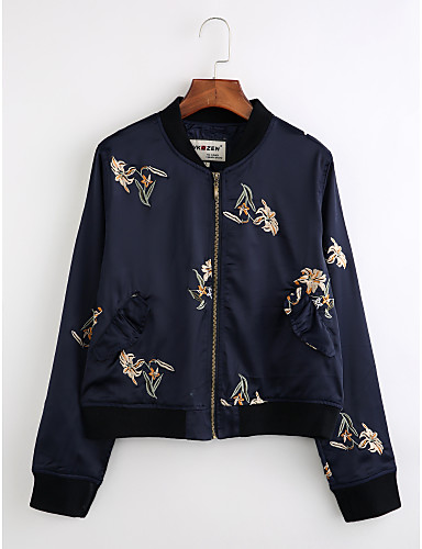 Women's Daily Vintage Winter Jacket,Print Stand Long Sleeve Regular Polyester Embroidered