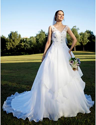 A-vonalú V-alakú Kápolna uszály Organza Egyéni esküvői ruhák val vel Gyöngydíszítés Rátétek Kristály díszítés által LAN TING BRIDE®