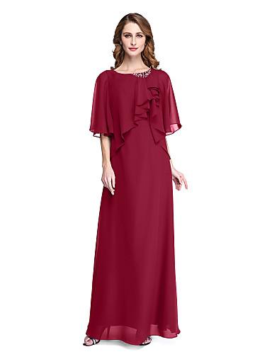 2412b7411 Funda   Columna Joya Hasta el Suelo Raso Vestido de Madrina con Cuentas    Plisado   Volante por LAN TING BRIDE®   Poema