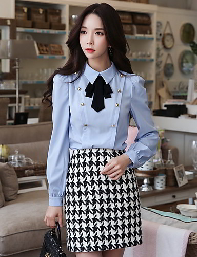 Women's Going out / Work Vintage Shirt - Solid Colored Bow Shirt Collar