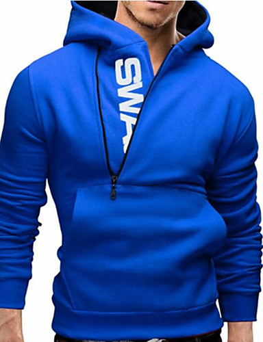 cheap Hoodies & Sweaters-Men's Basic / Street chic Long Sleeve Slim Hoodie - Solid Colored Hooded Blue XXXL / Fall / Winter