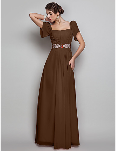 cheap Evening Dresses-Sheath / Column Square Neck Floor Length Chiffon Open Back Prom / Formal Evening Dress with Beading / Draping by TS Couture®