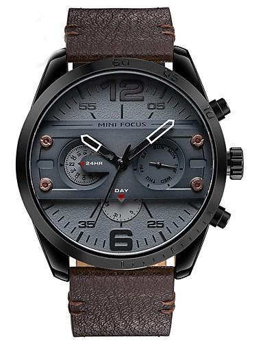 6b22ce9d199a Hombre Reloj de Pulsera Japonés Cuero Auténtico Negro   Azul   Marrón 30 m  Resistente al