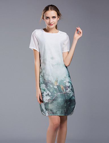 4991dfa2b9b8c2 Women's Daily Going out Plus Size Vintage Cute Chinoiserie Shift Dress,Floral  Round Neck Mini Short Sleeves Rayon Spring Summer Mid Rise #06200856