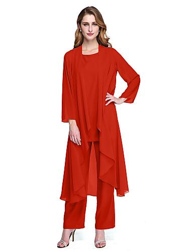billige Formelle dresser-Pantsuit Scoop Neck Ankellang Chiffon Kjole til brudens mor med Plissert av LAN TING BRIDE® / Innpakking inkludert