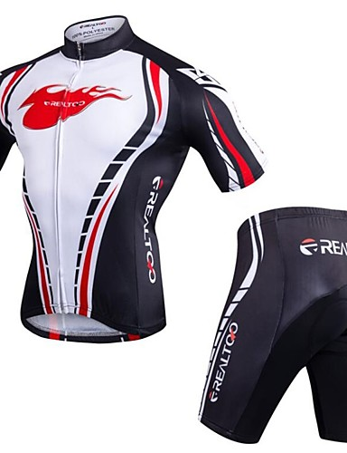 cheap Cycling Clothing-Realtoo Men's Short Sleeve Cycling Jersey with Shorts Bike Clothing Suit 3D Pad Quick Dry Anatomic Design Sports Spandex Classic Mountain Bike MTB Road Bike Cycling Clothing Apparel / Stretchy