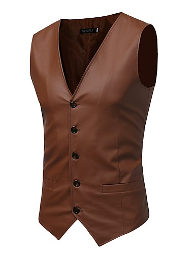 Men's Chinoiserie Sophisticated Slim Vest-Solid Colored / Sleeveless / Work
