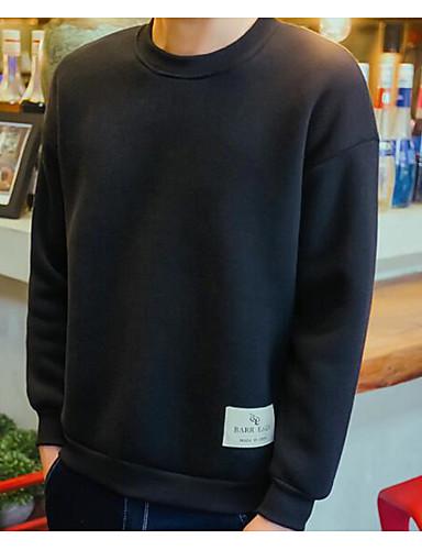 Men's Long Sleeve Sweatshirt - Solid Colored Round Neck