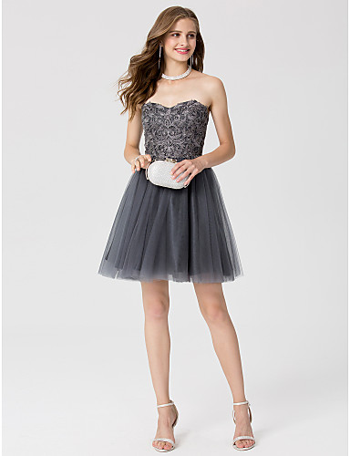 A-Line / Princess Sweetheart Neckline Short / Mini Lace / Tulle Open Back Cocktail Party / Prom Dress with Crystals by TS Couture®