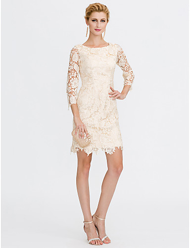 Sheath / Column Scoop Neck Knee Length All Over Lace Mother of the ...