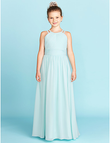 A-Line / Princess Jewel Neck Floor Length Chiffon Junior Bridesmaid Dress with Ruched / Side-Draped by LAN TING BRIDE® / Wedding Party / Open Back