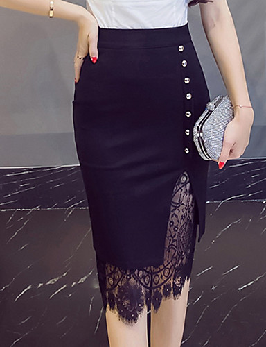 cheap Women's Skirts-Women's Going out Plus Size Cotton / Linen Bodycon Skirts - Solid Colored Lace / Cut Out Lace Split Black Red S M L / Sexy