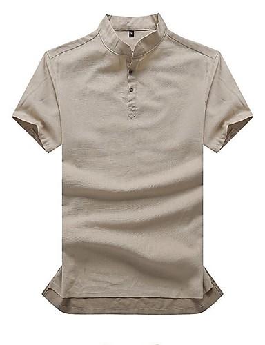 abordables Camisetas y Tops de Hombre-Hombre Algodón Camisa, Escote Chino Un Color Gris Oscuro XXXL / Manga Corta / Verano / Otoño