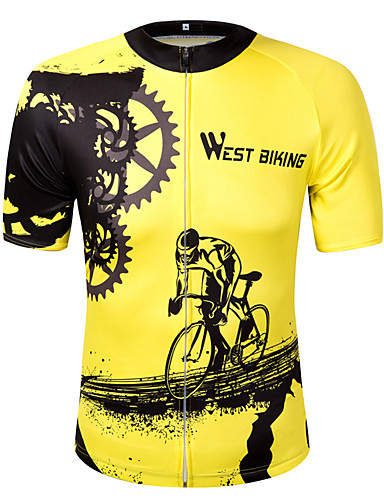 cheap Cycling Clothing-WEST BIKING® Men's Women's Short Sleeve Cycling Jersey - Yellow Bike Sweatshirt Jersey Top Quick Dry Reflective Strips Sports Polyester Mountain Bike MTB Road Bike Cycling Clothing Apparel