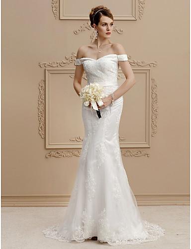 Sellő fazon Aszimmetrikus Seprő uszály Csipke / Tüll Made-to-measure esküvői ruhák val vel Gombok / Selyemövek / Szalagok által LAN TING BRIDE® / Open Back