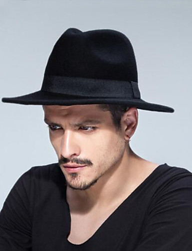 a880da41abb3db Unisex Traditional / Vintage Cotton Wool Blends Fedora Hat-Solid Colored  Pure Color Fall Winter Camel Gray Wine