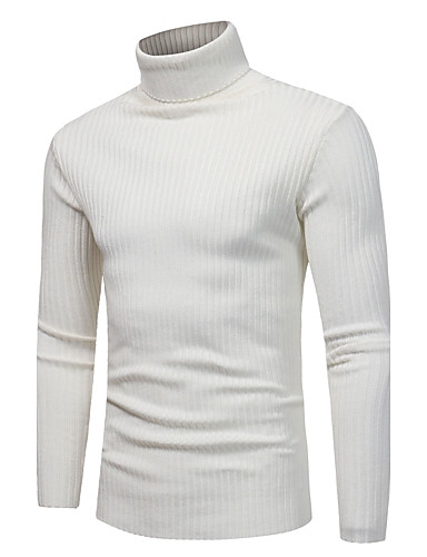 cheap Men's Sweaters & Cardigans-Men's Daily / Weekend Solid Colored Long Sleeve Slim Regular Pullover, Turtleneck Fall / Winter White / Navy Blue / Light gray XL / XXL / XXXL