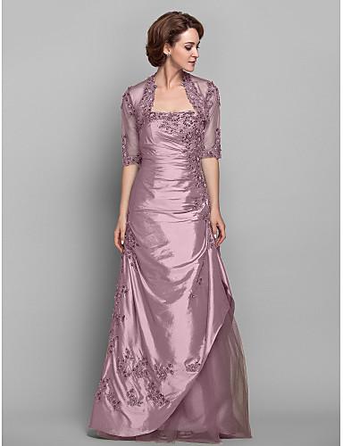 voordelige Wrap Dresses-A-lijn Strapless Tot de grond Taffeta / Beaded Lace Bruidsmoederjurken met Kralen / Appliqués / Zijdrapering door LAN TING BRIDE® / Wrap inbegrepen