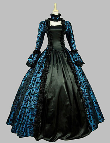 Victorian Rococo Female One-Piece/Dress Blue Cosplay Satin Sleeveless Floor Length