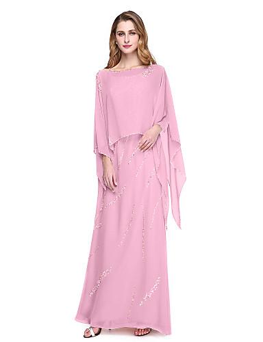 abordables robe invitée mariage-Fourreau / Colonne Bretelles Fines Longueur Sol Mousseline de soie Robe de Mère de Mariée  avec Billes par LAN TING BRIDE®