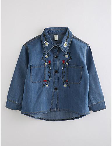 Da Ragazza Ricamato Manica Lunga Cotone Camicia Blu #06235381 Piacevole Nel Dopo-Gusto