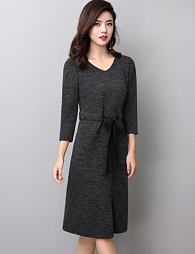 50832954ca5 Women s Plus Size Going out Street chic Sweater Dress - Solid Colored Split  V Neck Fall Dark Gray Khaki XXL XXXL XXXXL