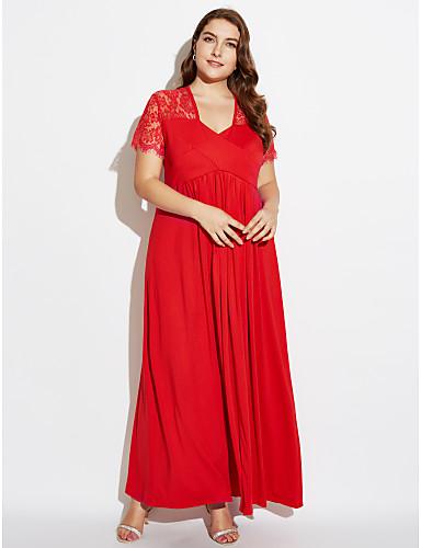 فستان نسائي قياس كبير متموج قطن طويل للأرض أحمر لون سادة منخفضة V رقبة
