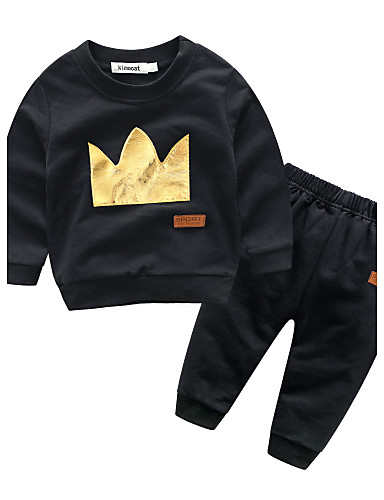 Baby Boys' Cotton Casual/Daily Patchwork Clothing Set, 100% Cotton Autumn/Fall Long Sleeves Black