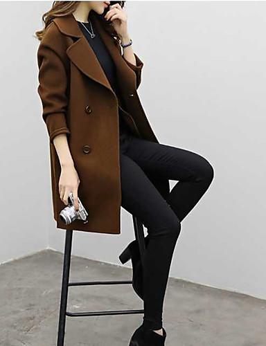 abordables Manteaux & Vestes Femme-Femme Sortie Automne / Hiver Normal Manteau, Couleur Pleine Col de Chemise Manches Longues Coton / Acrylique / Polyester Marron / Noir / Vert Véronèse