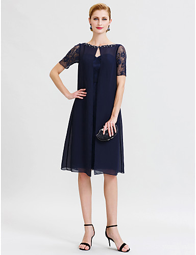Sheath / Column Bateau Neck Knee Length Chiffon Sheer Lace Mother of the Bride Dress with Beading Lace by LAN TING BRIDE®