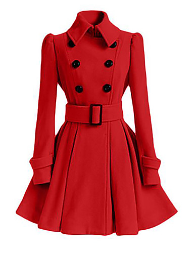 Women's Cotton Coat - Solid Colored Shirt Collar
