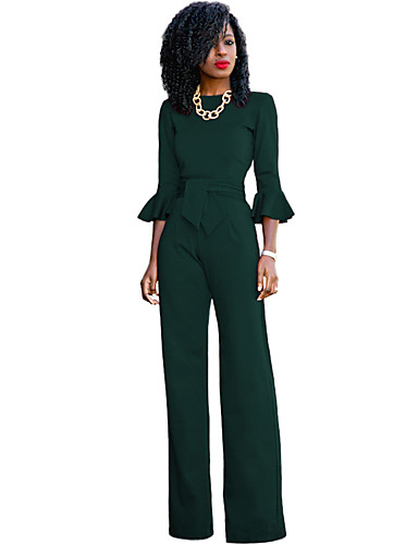 cheap Women's Jumpsuits & Rompers-Women's Flare Sleeve Wide Leg Daily / Work Street chic Red Yellow Royal Blue Wide Leg Jumpsuit, Solid Colored Flare Sleeve M L XL 3/4 Length Sleeve Spring Fall