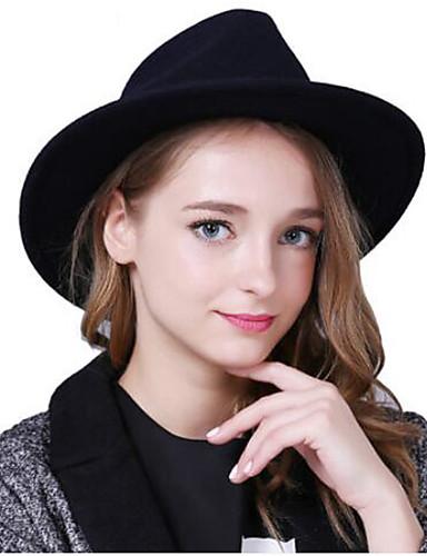 Női Egyszínű Tiszta szín Pamut / Pamut keverék, Fejfedők - Széles karimájú kalap / Tél