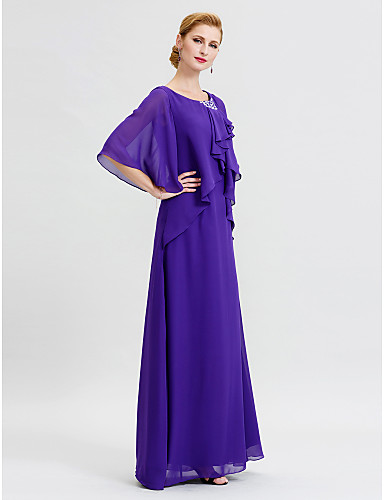 Sheath / Column Scoop Neck Floor Length Chiffon Mother of the Bride Dress with Crystal Detailing Ruffles by LAN TING BRIDE®