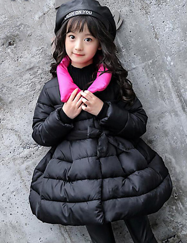 Girls' Solid Down & Cotton Padded,Polyester Winter Fall Long Sleeve Black Purple