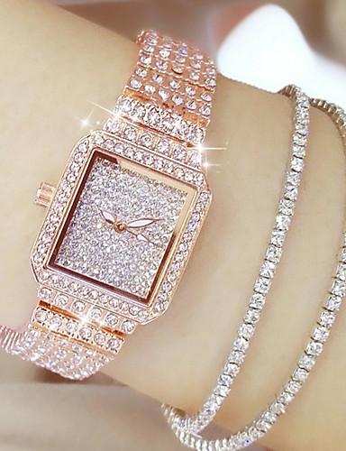 voordelige Trendy Horloge-Dames Luxueuze horloges Diamond Watch Gouden Horloge Japans Kwarts Roestvrij staal Zilver / Goud / Goud Rose 30 m Vrijetijdshorloge Analoog Dames Amulet Modieus Bling bling - Goud Zilver Goud Rose