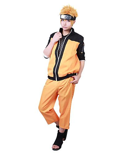 baratos Fantasias Anime-Inspirado por Naruto Naruto Uzumaki Anime Fantasias de Cosplay Japanês Ternos de Cosplay Retalhos Manga Longa Casaco / Calças Para Homens / Mulheres