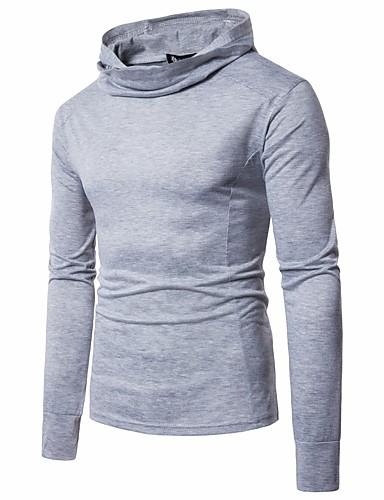 Herren Solide Retro Alltag Ausgehen T-shirt,Mit Kapuze Langarm Baumwolle Kunstseide Mittel