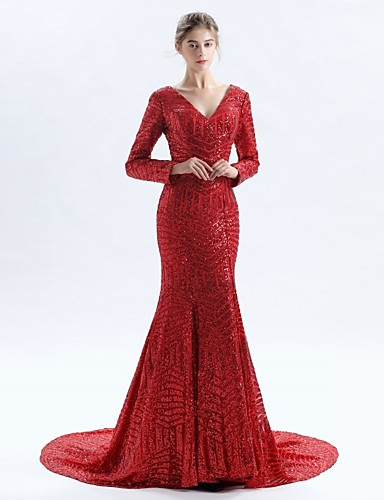 Mermaid / Trumpet V Neck Court Train Lace Open Back Cocktail Party / Formal Evening Dress with Lace by LAN TING Express