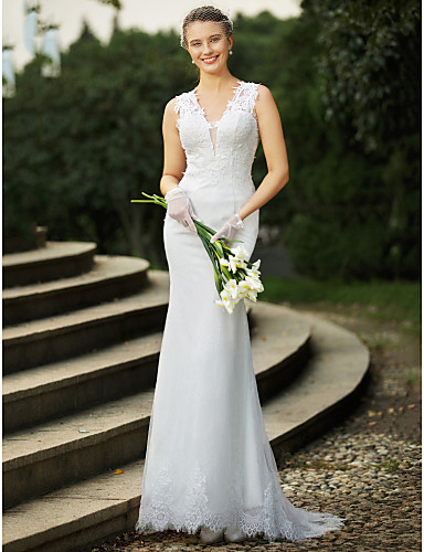 Mermaid / Trumpet V Neck Sweep / Brush Train Lace Made-To-Measure Wedding Dresses with Beading / Appliques by LAN TING BRIDE® / See-Through / Beautiful Back