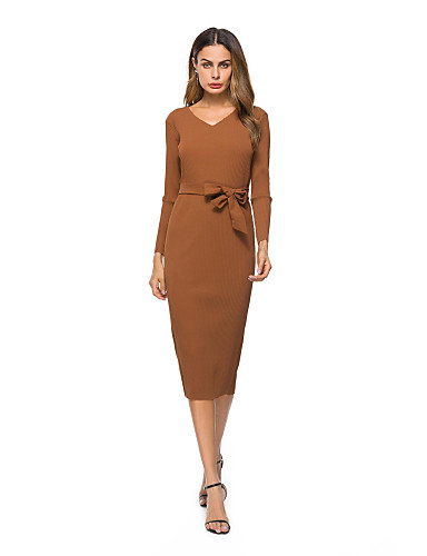 f1b479b625f Women's Party Going out A Line Dress - Solid Colored V Neck Fall Cotton Green  Khaki M L XL