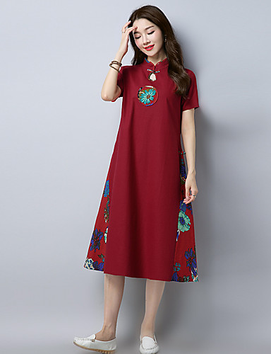 Women's Daily Shift Dress - Embroidered Stand Summer Cotton Navy Blue Wine L XL XXL