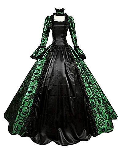 Victorian Medieval 18th Century Costume Women's Dress Party Costume Masquerade Ball Gown Green Vintage Cosplay Lace Satin Party Prom Long Sleeve Poet Sleeve Square Neck Long Length Ball Gown Plus