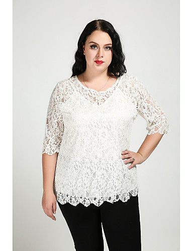 Cute Ann Outdoor Without Filling Material for Spring Shirts & Tops Clothing Apparel & Accessories / Lace / Cotton / Plus Size