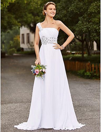 Linha A Assimétrico Cauda Corte Chiffon Cetim Vestido de casamento com Miçangas Com Pregas de LAN TING BRIDE®