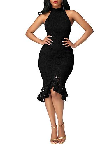 abordables Vestidos de Mujer-Mujer Fiesta Discoteca Chic de Calle Corte Bodycon Vestido - Encaje Volante, Un Color Hasta la Rodilla Cuello Barco / Pitillo
