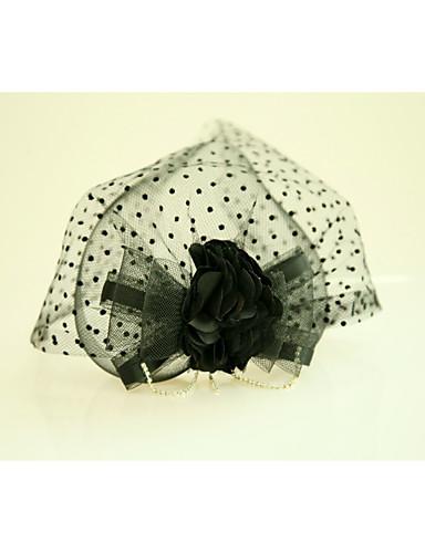 abordables Chapeau & coiffure-Tulle / Soie / Filet Fascinators / Fleurs avec Plume 1 Mariage / Occasion spéciale / Soirée / Fête Casque