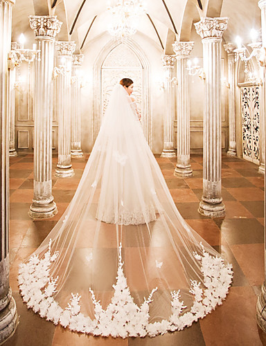 Two-tier Wedding Veil Cathedral Veils 53 Appliques Lace Tulle